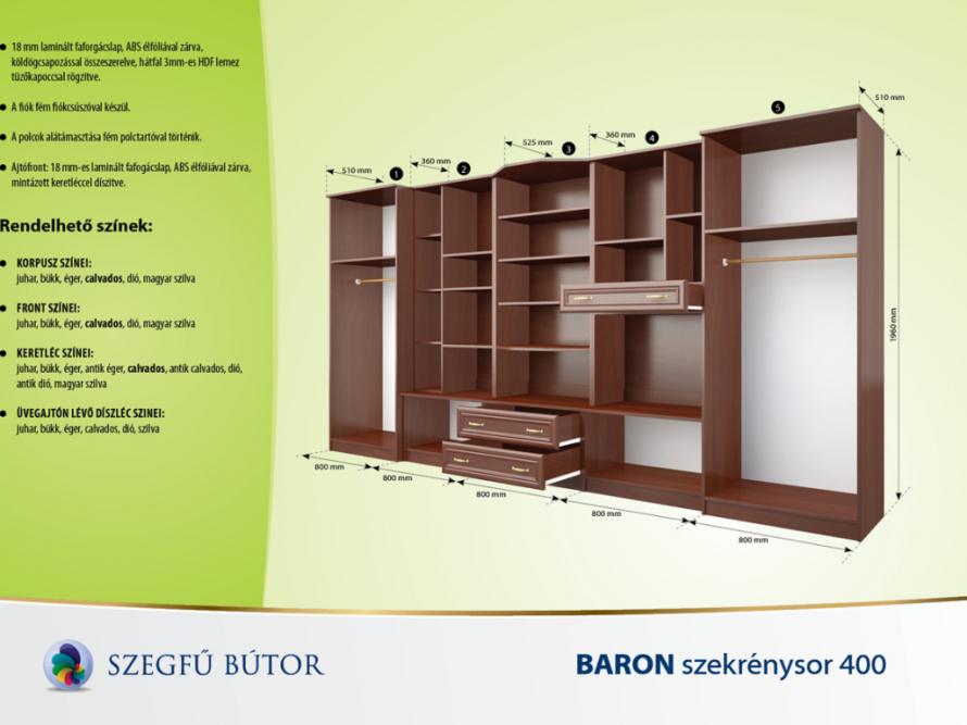 Baron szekrénysor 400 elemenként