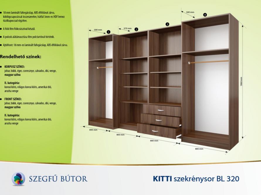 Kitti szekrénysor BL 320 elemenként