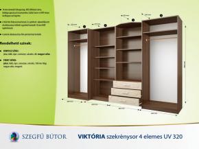 Viktória szekrénysor 4 elemes UV 320 elemenként